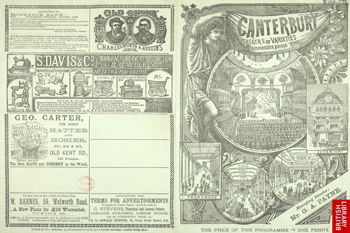 Programme for the Canterbury Theatre of Varieties, Monday 25 March 1889